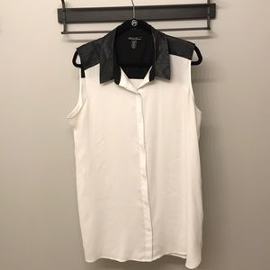 Kenneth Cole-Tank Top W/Leather Collar-Size:XL